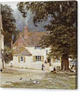 A Cart By A Village Inn Canvas Print