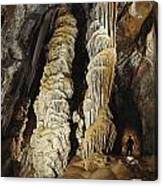 A Caver Is Dwarfed By Giant Calcite Canvas Print