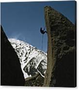 A Climber Rappels Off Grandma Boulder Canvas Print