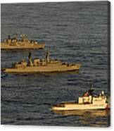 A Convoy Of Naval Ships Move Canvas Print