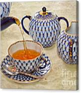 A Cup Of Tea Tea Being Poured Into A China Cup Canvas Print