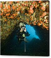 A Diver Explores A Cavern With Orange Canvas Print
