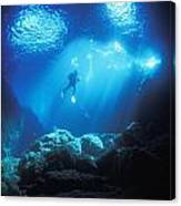 A Diver Hovers Inside The Archway As Canvas Print
