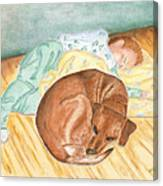 A Dog And Her Boy Canvas Print