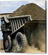 A Dump Truck Carrying Gravel Kicks Canvas Print