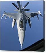 A Dutch F-16am Conducts In-flight Canvas Print