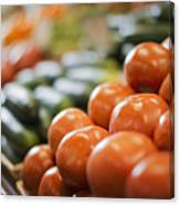A Farm Stand Display Of Fresh Produce Tomatoes And Cucumbers Canvas Print