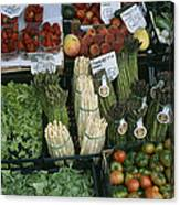 A Farmers Market Selling Vegetables Canvas Print