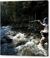 A Fisheries Technician Uses An Antenna Canvas Print