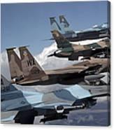 A Flight Of Aggressor F-15 And F-16 Canvas Print