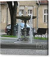 A Fountain In Silute Lithuania Canvas Print