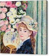 A French Girl With A Fan Canvas Print
