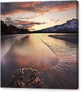 A Frozen Straumen Lake On Tjeldoya Canvas Print