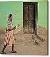 A Girl By A Door Canvas Print