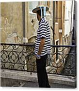 A Gondolier In Venice Canvas Print