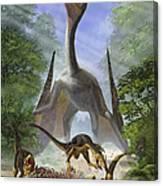 A Group Of Balaur Bondoc Dinosaurs Canvas Print