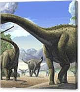 A Group Of Tapuiasaurus Macedoi Canvas Print
