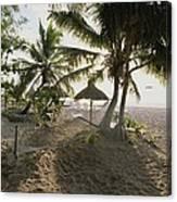 A Hammock, Umbrella, And Swaying Palms Canvas Print