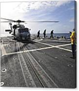 A Helicpter Sits On The Flight Deck Canvas Print