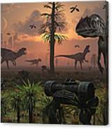 A Herd Of Allosaurus Dinosaur Cause Canvas Print