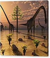 A Herd Of Omeisaurus Dinosaurs Grazing Canvas Print