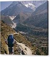 A Hiker With A Mountain Range Canvas Print