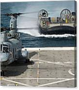 A Hovercraft Approaches Uss New Orleans Canvas Print