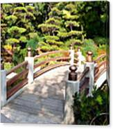 A Japanese Garden Bridge From Sun To Shade Canvas Print