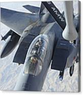 A Kc-135 Stratotanker Refuels An F-15e Canvas Print