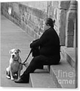A Lady With Her Dog In Barcelona Canvas Print