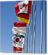 A Line Of Flags Represent The Countries Canvas Print