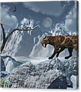 A Lone Sabre-toothed Tiger In A Cold Canvas Print