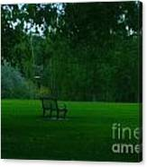 A Lonely Autumn Bench  Canvas Print