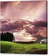 A Lonely Farm Building In An Open Field Canvas Print