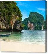 A Long Tail Boat By The Beach In Thailand  Canvas Print