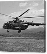 A Macedonian Mi-17 Helicopter Landing Canvas Print