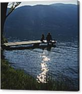 A Man And His Dog On A Lake Skaha Dock Canvas Print