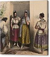 A Man And Three Women From Puebla Canvas Print
