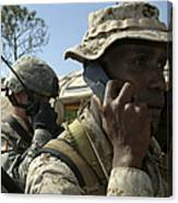 A Marine Communicates With Aircraft Canvas Print