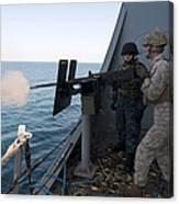 A Marine Fires A .50-caliber Machine Canvas Print