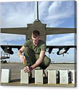 A Marine Replaces Flares In Flare Canvas Print