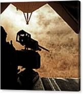A Marine Waits For Dust To Clear While Canvas Print
