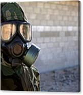 A Marine Wearing A Gas Mask Canvas Print