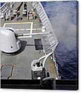 A Mk-45 5-inch .54-caliber Gun Is Fired Canvas Print