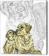 A Mothers Love - Labrador Dog Print Color Tinted Canvas Print