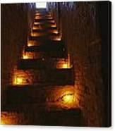 A Narrow Staircase Lit With Candles Canvas Print