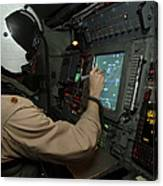 A Naval Flight Officer Tracks Aircraft Canvas Print