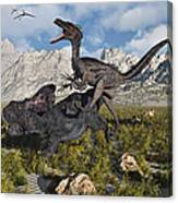 A Pack Of Velociraptors Attack A Lone Canvas Print