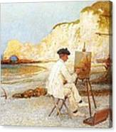 A Painter By The Sea Side Canvas Print