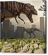 A Pair Of Tyrannosaurus Rex Explore Canvas Print